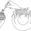 Instruktionstegninger til Dorthe Vembys lærebog i blomsterbinding 'Binderi, Teknik og Design'. Erhvervsskolernes Forlag